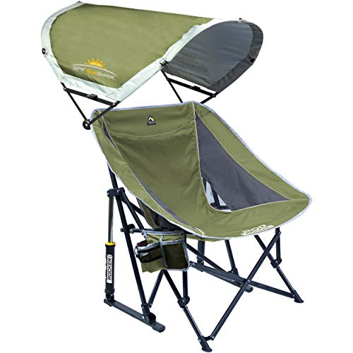 GCI Outdoor Pod Rocker Collapsible Rocking Chair with SunShade, Loden Green | Outdoor Newspaper