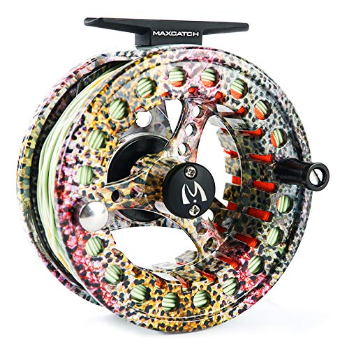 M MAXIMUMCATCH Maxcatch ECO Fly Reel Large Arbor with Diecast Aluminum Body Fly Fishing Reel(3/4wt 5/6wt 7/8wt) (Reel with Line Rainbow Trout, 5/6 Weight)