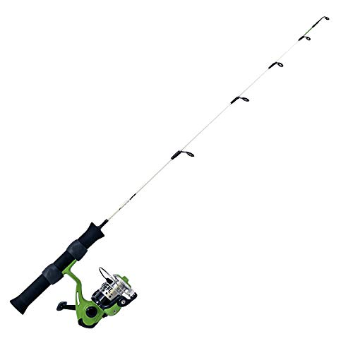Quantum Ice Spinning Reel and Ice Fishing Rod Combo, Solid Carbon Rod, Lightweight Graphite Ice Fishing Reel with Aluminum Spool, Green, 28