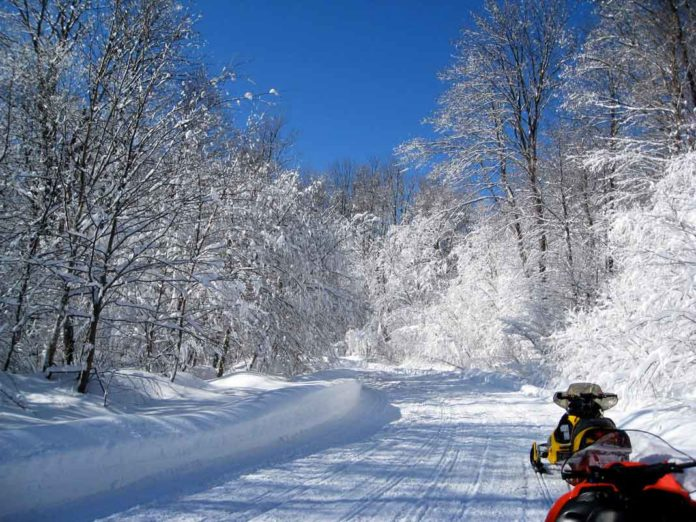 Snowmobile trail in Illinois - Stopping to stretch and take a break off of sleds | Outdoor Newspaper