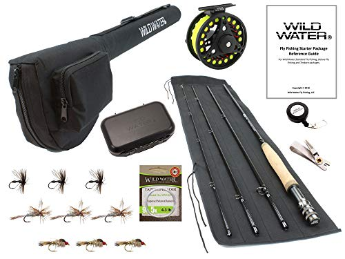Wild Water Fly Fishing 9 Foot, 4-Piece, 5/6 Weight Fly Rod Complete Fly Fishing Rod and Reel Combo Starter Package