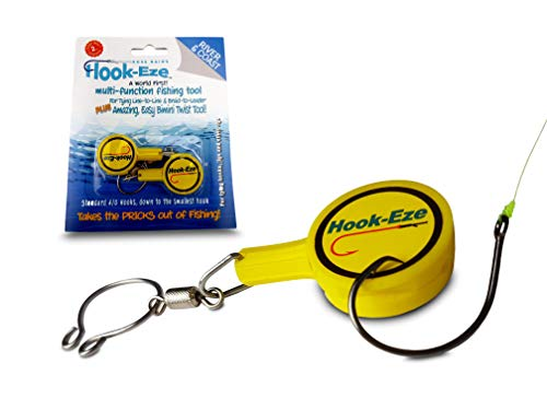 HOOK-EZE Fishing Gear Knot Tying Tool for Fishing Hooks – Cover Hooks on Fishing Rods | Line Cutter | for Saltwater Freshwater Bass Kayak Ice Fishing (Yellow)